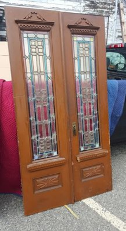 Antique Stained Glass Double Door - Antique Exterior Doors