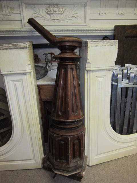 Large Ornate Victorian Walnut Newel Post