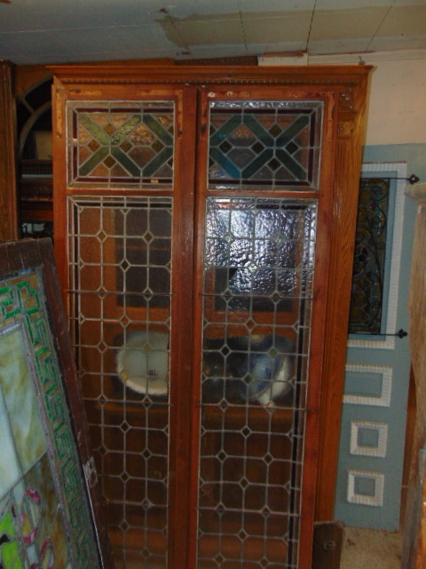 Antique Stained Glass Doors Cabinet - Antique Windows