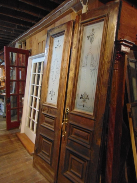 X39 60 x 89 1/2 Metal Doors with Remnant of Wood Grain Paint - Antique Exterior Doors