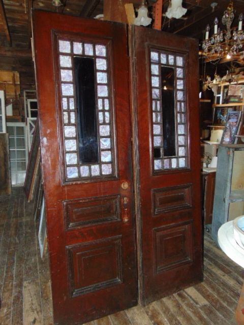 Antique Queen Anne Style Double Doors - Antique Exterior Doors
