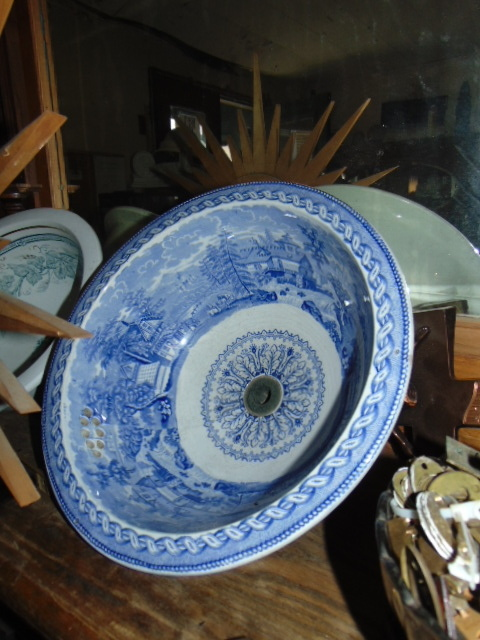 Antique Victorian Blue Sink Bowl Finished Top