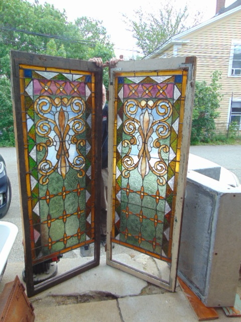 Matching Pair Antique Stained Glass Fl