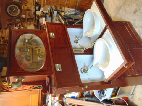 Antique Folding Sink Cabinet Ocean Liner Yacht Bath Fixture - Antique Bathroom Sinks