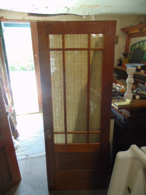 Antique Salvaged Blue Flash Glass Door & Interior Doors
