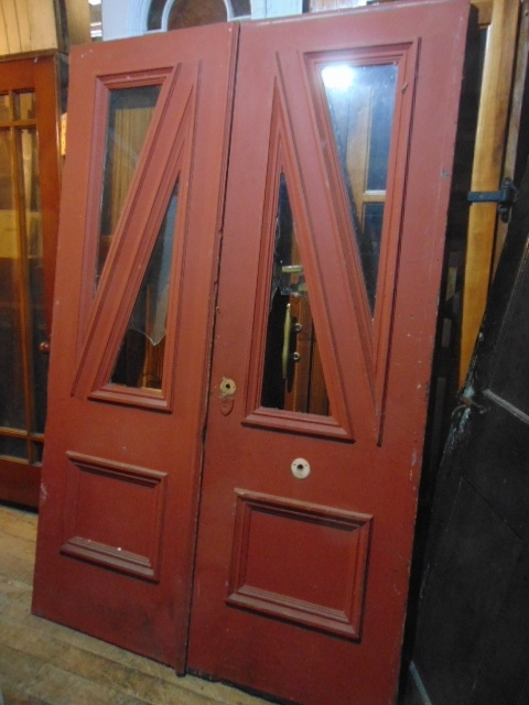 Antique Front Door Triangular Windows Salvage - Antique Exterior Doors