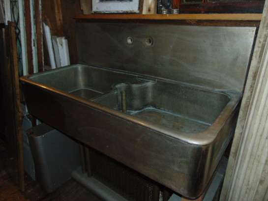 sold   19 48 x 21 8 inch deep bowls appears to be thick german silver antique kitchen sinks  rh   oldhousesalvage com