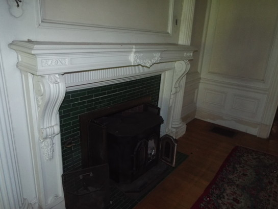 Colonial Revival Wooden Mantel with Plaster